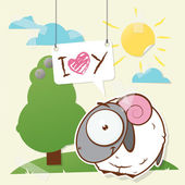 Cute collage from paper with funny sheep. Vector illustration. — Stock Vector
