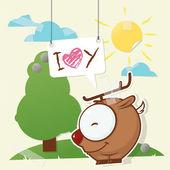 Carino collage da carta con cervi divertenti. illustrazione vettoriale. — Vettoriale Stock
