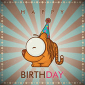 Happy birthday greeting card with funny cartoon tiger. — Vettoriale Stock