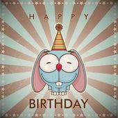 Komik karikatür tavşan ile doğum gününü tebrik kartı. — Stok Vektör