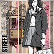 Vector illustration of a pretty fashion girl and old tram. — Stockvectorbeeld