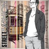 векторные иллюстрации молодой стильный парень и старый трамвай. — Cтоковый вектор