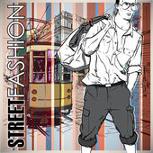 Vector illustration of a young stylish guy and old tram. — Stock Vector