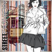 ファッションでかなりの女の子と古い路面電車のベクトル イラスト. — ストックベクタ