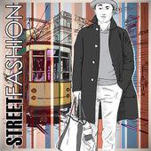 şık genç adam ve eski tramvay vektör çizimi. — Stok Vektör