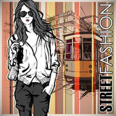 Vector illustration of a pretty fashion girl and old tram. — Stock Vector