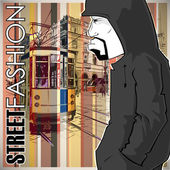 Vector illustration of a graffiti character and old tram. — Stock Vector