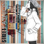 Illustrazione vettoriale di un vecchio tram e bella moda ragazza. — Vettoriale Stock