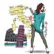 Cute girl in sketch-style on a italian background. - Stock Vector