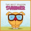 Stock Vector: Summer vector card with funny cartoon doggy.