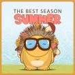 Summer vector card with cartoon hedgehog - Stockvektor