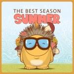 Summer vector card with cartoon hedgehog — Stock Vector #24747677