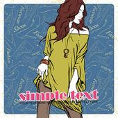 性感夏季女孩在鞋类背景上的素描样式。矢量插画 — 图库矢量图片