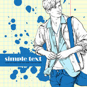 Stylish dude with bag on a grunge background. Vector illustration. — Stock Vector