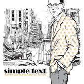 时尚男人在街头背景上 — 图库矢量图片