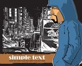 涂鸦街-背景上的字符 — 图库矢量图片