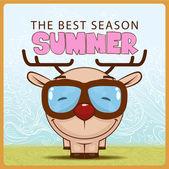 Summer vector card with funny cartoon deer. — Stock Vector