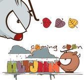 Jesienny wektor karty śmieszne kreskówka jelenie i tekst — Wektor stockowy