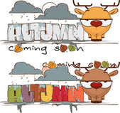 Autumnal vector card with funny cartoon deer and text — Stock Vector
