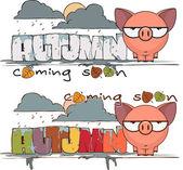 秋季矢量卡与可爱的卡通小猪和文本 — 图库矢量图片