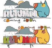 Jesienny wektor karty z śmieszne kreskówka pieska i tekst. — Wektor stockowy
