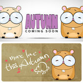Autumnal vector card with funny cartoon hamster and text. — Stock Vector