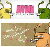 秋季矢量卡与可爱的卡通兔子和文本. — 图库矢量图片