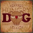 Stock Vector: Vintage background with hungry cartoon doggy
