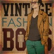 Vintage background with stylish autumnal dude - Image vectorielle