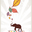 Abstract autumnal vector illustration with elephant and leafs — Stock Vector