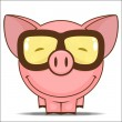 Funny cartoon piggy character - Stock Vector