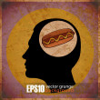 Vintage scratched background with human head and hot dog. - Stock Vector
