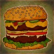 Vintage scratched background with cartoon Ham Burger. - Stockvectorbeeld