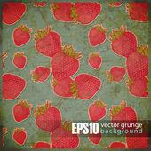 Vintage achtergrond met aardbeien — Stockvector