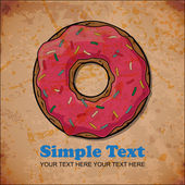 Vintage background with donut — Stock Vector