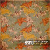 Vintage scratched floral background — Stock Vector