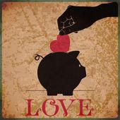 Fondo vintage con alcancía, corazón y manos. — Vector de stock