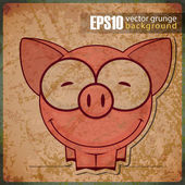 Vintage background with cartoon piggy — Stock Vector