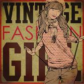 Sexiga sommar flicka i skiss-stil på grunge bakgrund. vektor illustration — Stockvektor