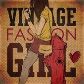 性感夏季女孩在 grunge 背景上的素描样式。矢量插画 — 图库矢量图片