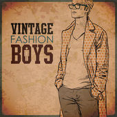 Vintage background with stylish autumnal dude — Stock Vector