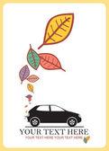 Coche y hojas — Vector de stock