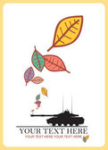 Tank and leafs. — Stock Vector