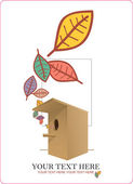Abstract autumnal vector illustration with birdhouse and leafs. — Stock Vector