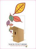 Resumen ilustración vectorial otoñal con comedero para pájaros y hojas. — Vector de stock