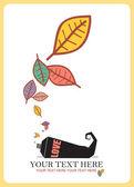 Resumen ilustración vectorial otoñal con tubo y hojas. — Vector de stock