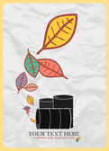 Abstract autumnal vector illustration with barrels and leafs. — Stock Vector