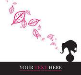 抽象的秋季矢量插画与大象和枫叶 — 图库矢量图片