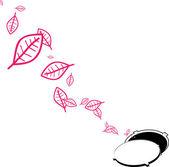 Abstrato de ilustração vetorial outonal com bueiro e folhas. — Vetorial Stock