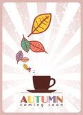 Taza de té y hojas — Vector de stock